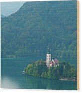 Lake Bled Island Wood Print