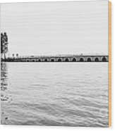 Lake Bridge Mono Wood Print