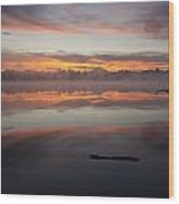 Lake Cassidy Reflections Dramatic Clouds Wood Print