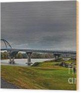 Lake Champlain Bridge Panorama From Crown Point Wood Print