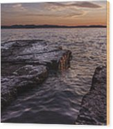 Lake Champlain Sunset Burlington Vermont Oakledge Park Wood Print