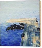 Lake Dock Wood Print by Paula Marsh