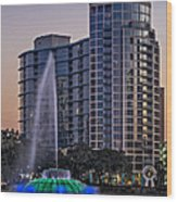 Lake Eola Water Fountain  Wood Print