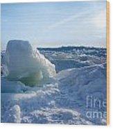 Lake Erie Ice Sunrise Wood Print