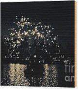 Lake Fireworks Wood Print