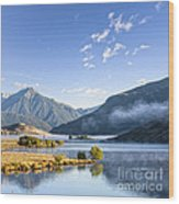 Lake Grasmere And Southern Alps Canterbury New Zealand Wood Print