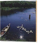 Lake Guiding Sports Fishing Wood Print