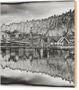 Lake House Reflection Wood Print