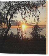 Lake Huron Setting Sun Wood Print