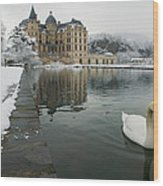 Lake In Front Of A Chateau, Chateau De Wood Print