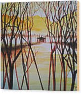 Lake In The Morning Wood Print