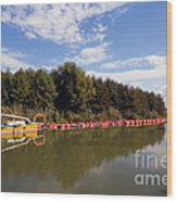 Lake Inlet With Dredger Wood Print