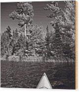 Lake Kayaking Bw Wood Print