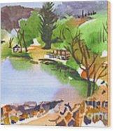 Lake Killarney With Rock Wall Wood Print