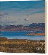 Lake Laberge And Surrounding Taiga In Fall Wood Print