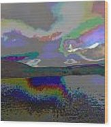 Lake Land And Sky Digitally Painted Photograph Taken Around Poconos  Welcome To The Pocono Mountains Wood Print