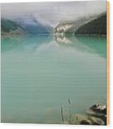 Lake Louise As The Morning Mist Rises 1 Wood Print