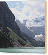 Lake Louise Wood Print by Carolyn Ardolino