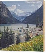 1m3520-h-lake Louise Chateau Wood Print