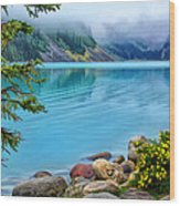 Lake Louise On A Cloudy Day Wood Print