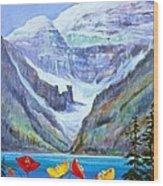 Lake Louise Poppies Wood Print