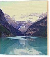 Lake Louise Stillness Wood Print by Karen Wiles
