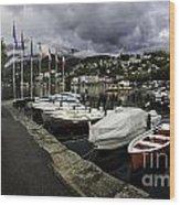 Lake Maggiore Boats Wood Print