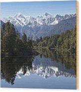 Lake Matheson New Zealand Wood Print