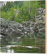 Lake Mcdonald Falls River Glacier National Park Wood Print