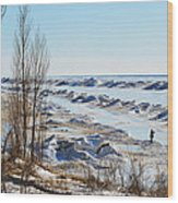 Lake Michigan In Ice Wood Print