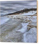 Lake Michigan Shelf Ice Wood Print