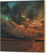 Lake Murray Fire Sky Wood Print