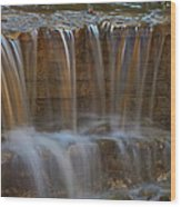 Lake Park Waterfall Wood Print
