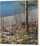 Lake Partly Covered With Ice In Early Spring Wood Print