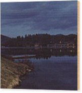 Lake Placid At Night Wood Print