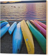 Lake Quinault Kayaks Wood Print by Inge Johnsson