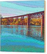 Lake Redding Ca Digital Painting Wood Print