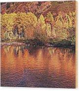 Lake Reflection In Fall 2 Wood Print