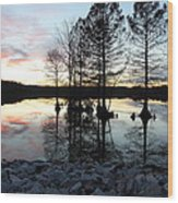 Lake Reflections At Sunset Wood Print