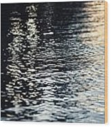 Lake Ripples In Blue At Sunset Wood Print