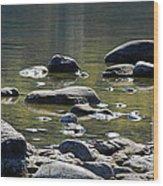 Lake Rocks Wood Print