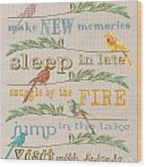 Lake Rules With Birds-c Wood Print