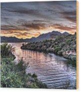 Lake Saguaro Sunset Wood Print
