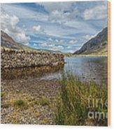 Lake Stone Wall Wood Print