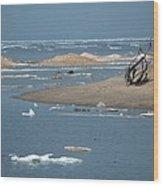 Lake Superior And Ice Wood Print