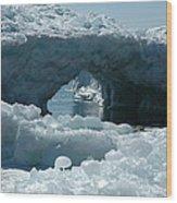 Lake Superior Ice Bridge Wood Print