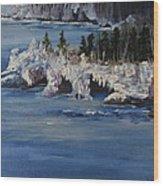 Lake Superior Ice Storm Wood Print