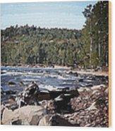 Lake Superior Shoreline Abstract Wood Print