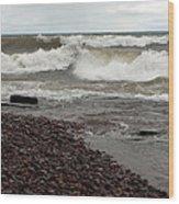 Lake Superior Surf Wood Print