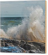 Lake Superior Waves Wood Print
